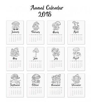 Hand drawn mushroom calendar 2018