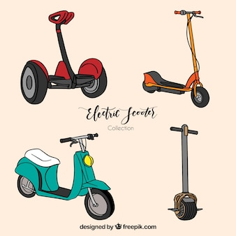 Hand drawn pack de scooters modernes