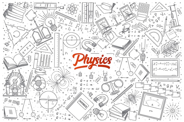 Hand drawn physics doodle set background avec lettrage rouge