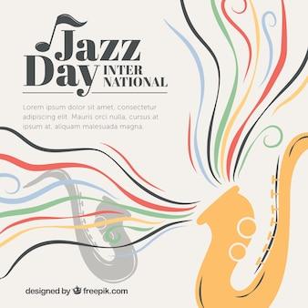 Hand drawn saxophone fond avec des vagues de couleur