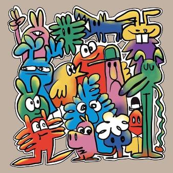 Hand drawn vector illustration de doodle, dessin d'outils de ligne d'illustrateur