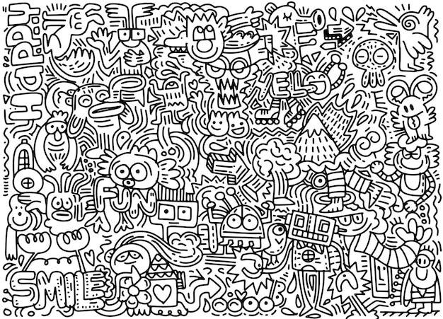Hand drawn vector illustration du monde drôle doodle
