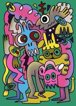 Hand drawn vector illustration of doodle peoples, dessin d'outils de ligne d'illustrateur
