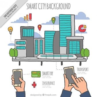 Hand drawn ville moderne avec des gadgets de fond