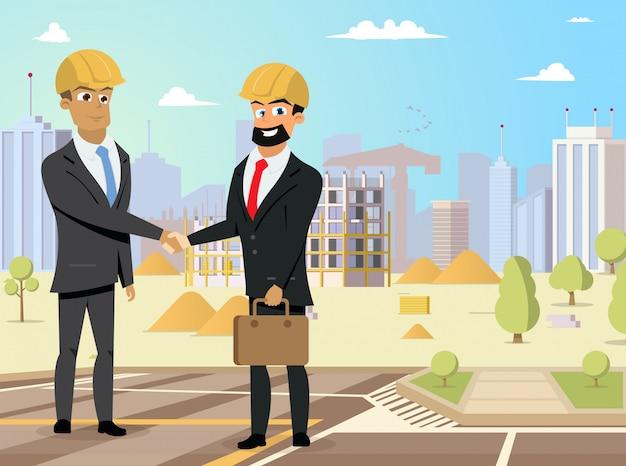 Handshaking des partenaires sur le vecteur de chantier de construction