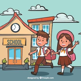 Handy dessinée smiley chilren aller à l'école