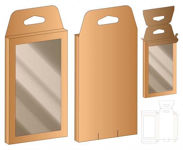 Hanging box packaging die cut design template