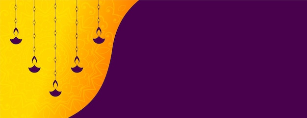 Hanging diya décoration diwali festival bannière design
