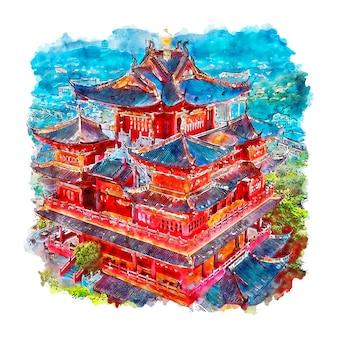 Hangzhou chine aquarelle croquis illustration dessinée à la main