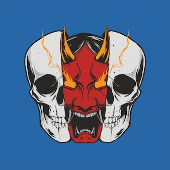 Hannya mask skull illustration design