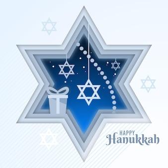 Hanoukka en style papier avec symbole religieux