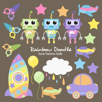 Hans rainbow objects doodle