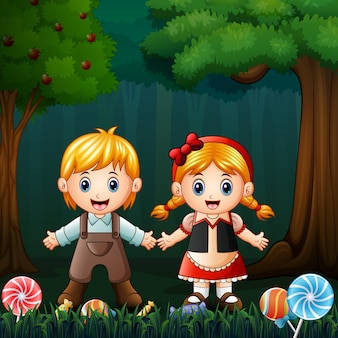 Hansel et gretel dans la forêt