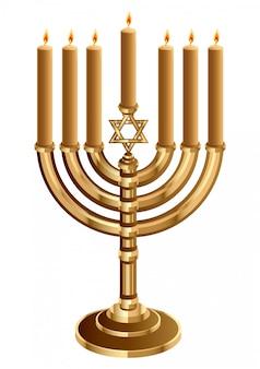 Hanukkah bougeoir avec 7 bougies, bougeoir pour 7 bougies, mineur