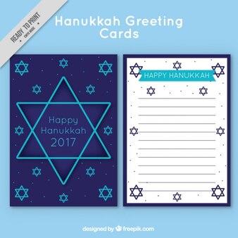 Hanukkah carte de voeux avec des étoiles bleues