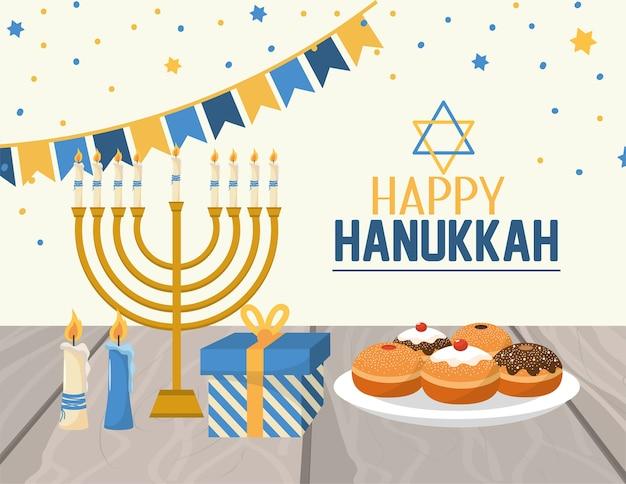 Hanukkah décoration avec des drapeaux de fête et des bougies