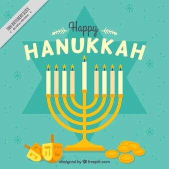 Hanukkah fond avec candélabre, pièces de monnaie et toupie