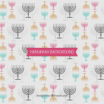 Hanukkah fond avec des candélabres en différentes couleurs