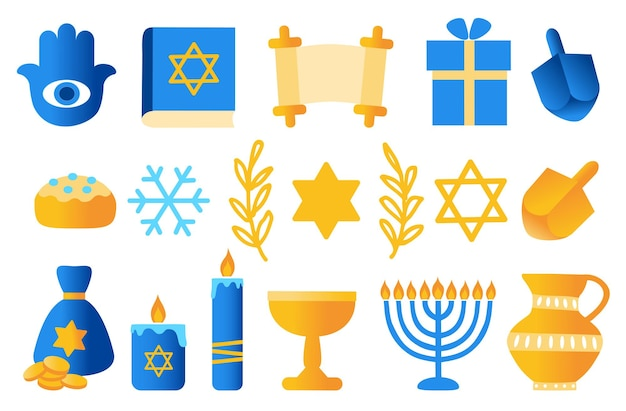 Hanukkah vacances juives vector set hanukkah symboles dreidels en bois beignets menorah bougies