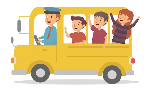 Happines kids vont à l'école en illustration de concept de bus