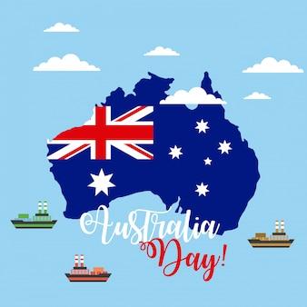 Happy australia day avec drapeau sur la carte