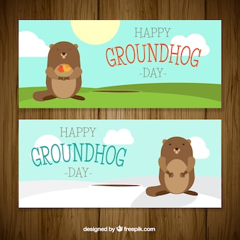 Happy bannières groundhog day