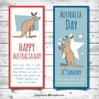 Happy bannières jour australie avec kangourous sourire
