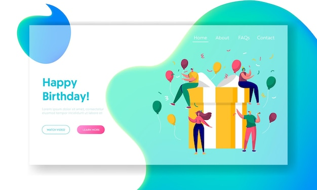 Happy birthday party celebration landing page.
