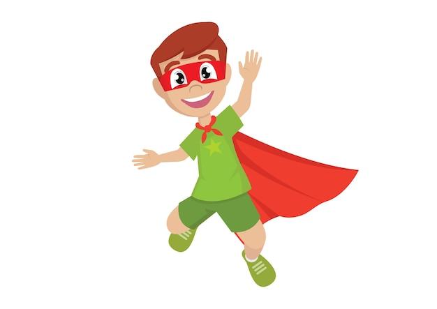 Happy boy en super héros sautant.