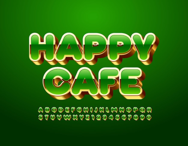 Happy cafe green et gold font alphabet de luxe lettres et chiffres ensemble