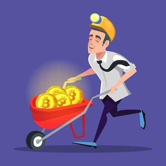 Happy cartoon bitcoin miner avec pushcart