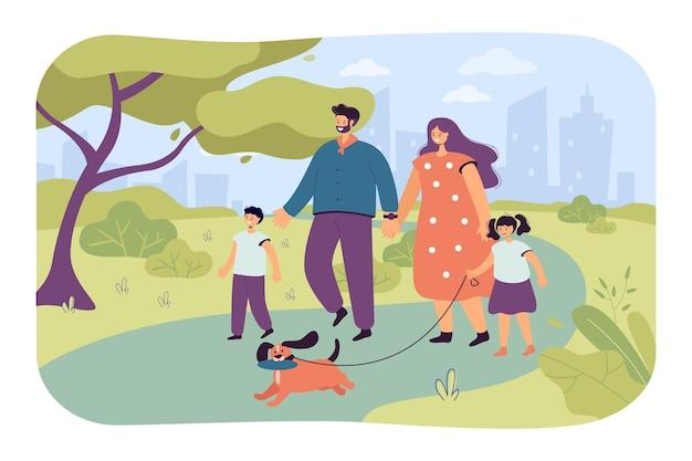 Happy cartoon family walking dog dans le parc ensemble. illustration vectorielle plane