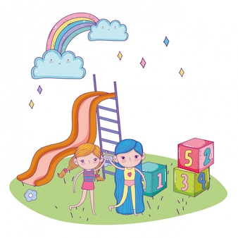 Happy childrens day, amical girls with slide blocks park