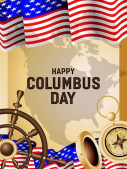 Happy columbus day poster illustration