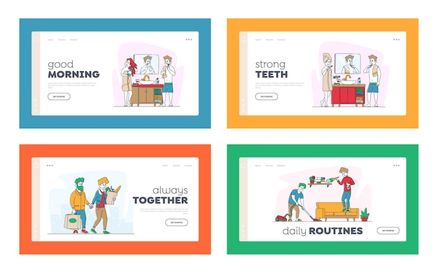 Happy couple characters everyday routine matters landing page template set.
