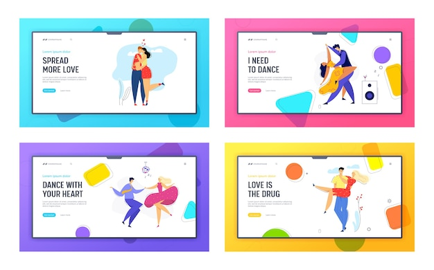 Happy couple in love landing page. homme embrassant sa petite amie. femme embrasse son petit ami.