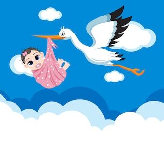 Happy cute baby girl kid voler avec oiseau dans le ciel librement