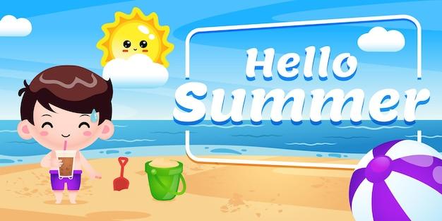 Happy cute boy drink boba ice avec bannière de voeux d'été