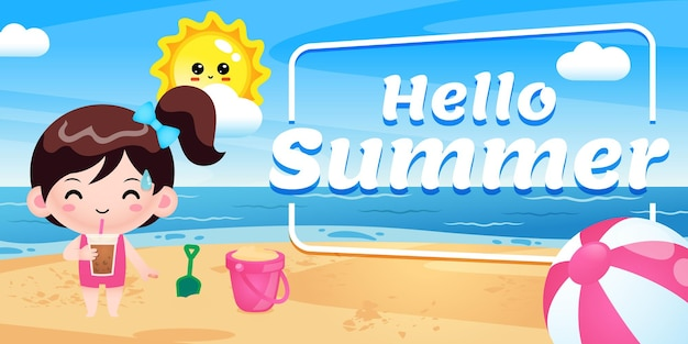 Happy cute girl drink boba ice avec bannière de voeux d'été