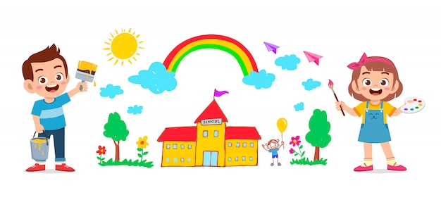Happy cute little kid garçon et fille dessiner avec de la peinture sur le mur ensemble