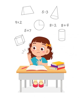 Happy cute little kid girl study math