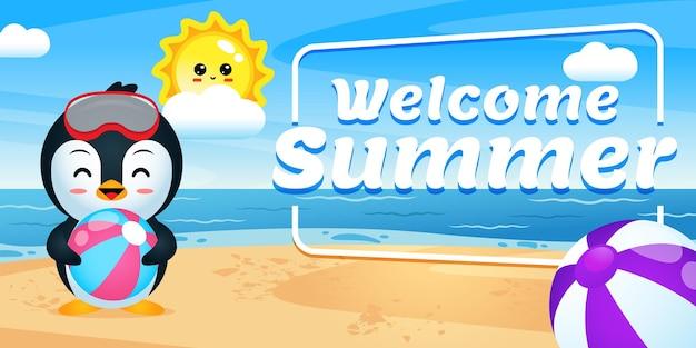 Happy cute penguin holding ball avec bannière de voeux d'été