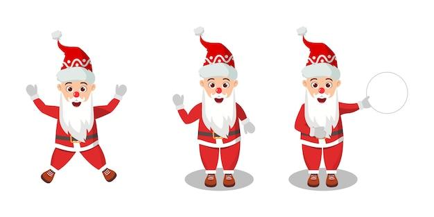 Happy cute santa claus holding banner et action différente isolé sur fond blanc