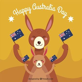 Happy day australie avec sourire kangourous brandissant des drapeaux