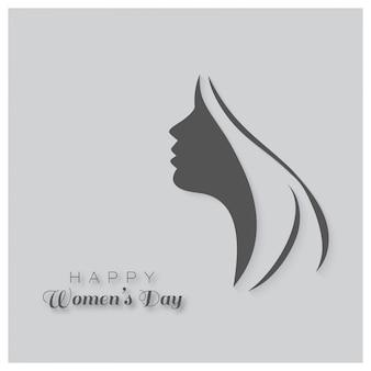 Happy day womens carte-cadeau de carte de voeux avec la conception d'une femme le visage et le 8 texte mars internatinoal femmes jour