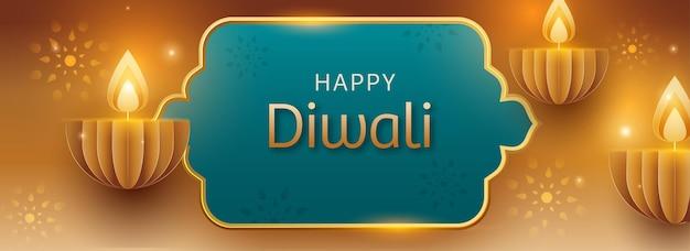 Happy diwali celebration concept avec des lampes à huile allumées en papier découpé (diya) sur fond doré et turquoise.