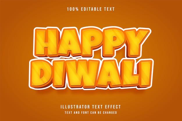Happy diwali, effet de texte modifiable 3d dégradé jaune style de texte ombre bande dessinée orange