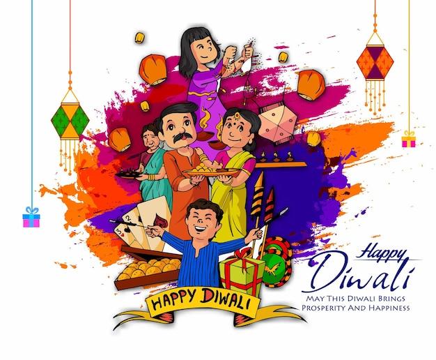 Happy diwali festival of lights vector illustration et belle carte de voeux pour la célébration o