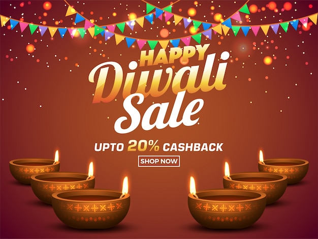 Happy diwali flat 20% bannière de vente décorée avec des drapeaux.