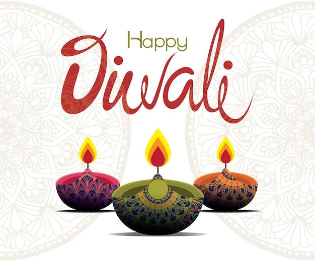 Happy diwali avec lampe à huile mandala design